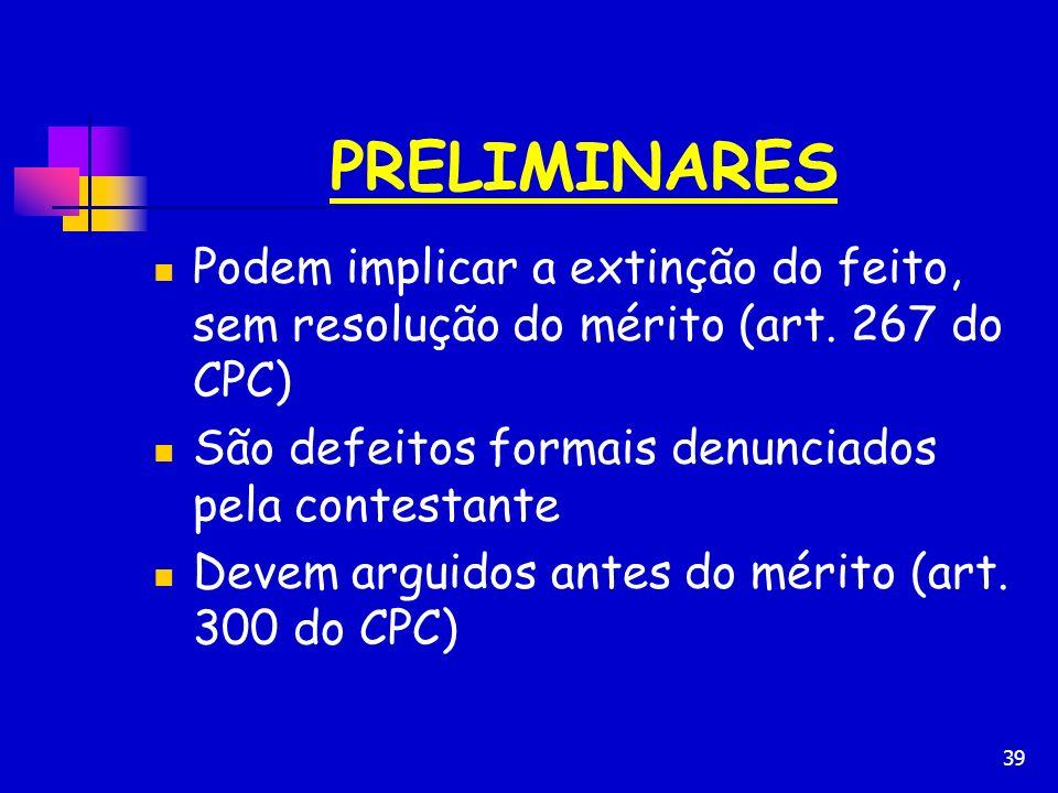 PRELIMINARES Podem implicar a extinção do feito, sem resolução do mérito (art. 267 do CPC) São defeitos formais denunciados pela contestante.