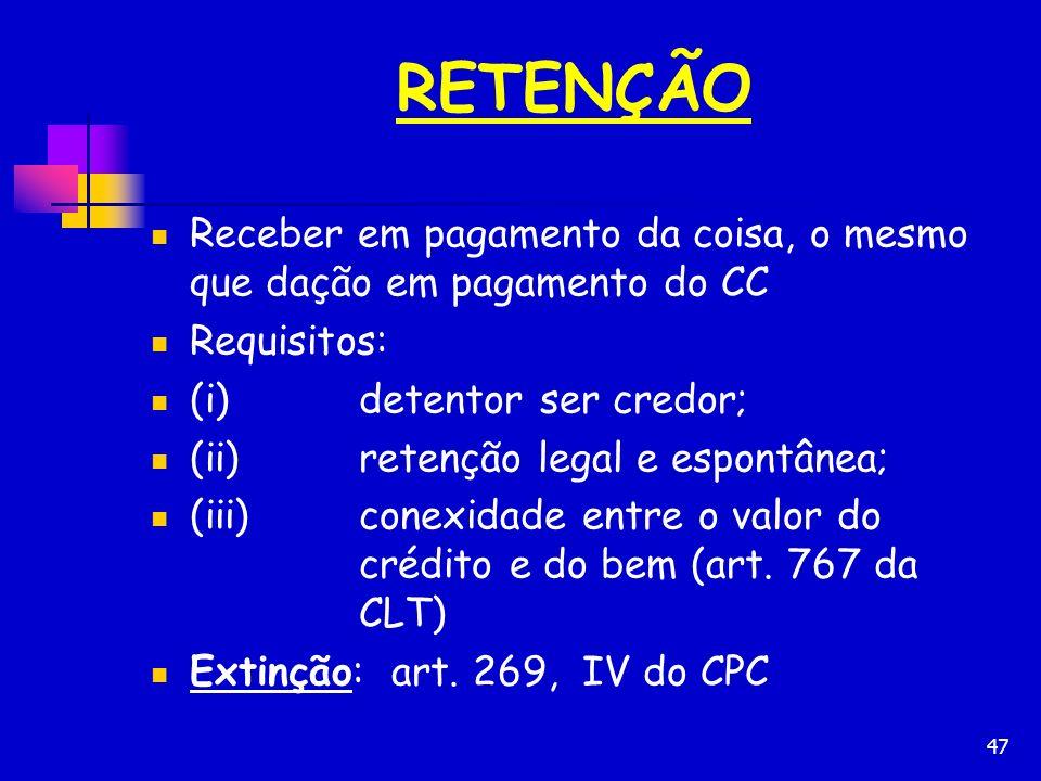 RETENÇÃO Receber em pagamento da coisa, o mesmo que dação em pagamento do CC. Requisitos: (i) detentor ser credor;