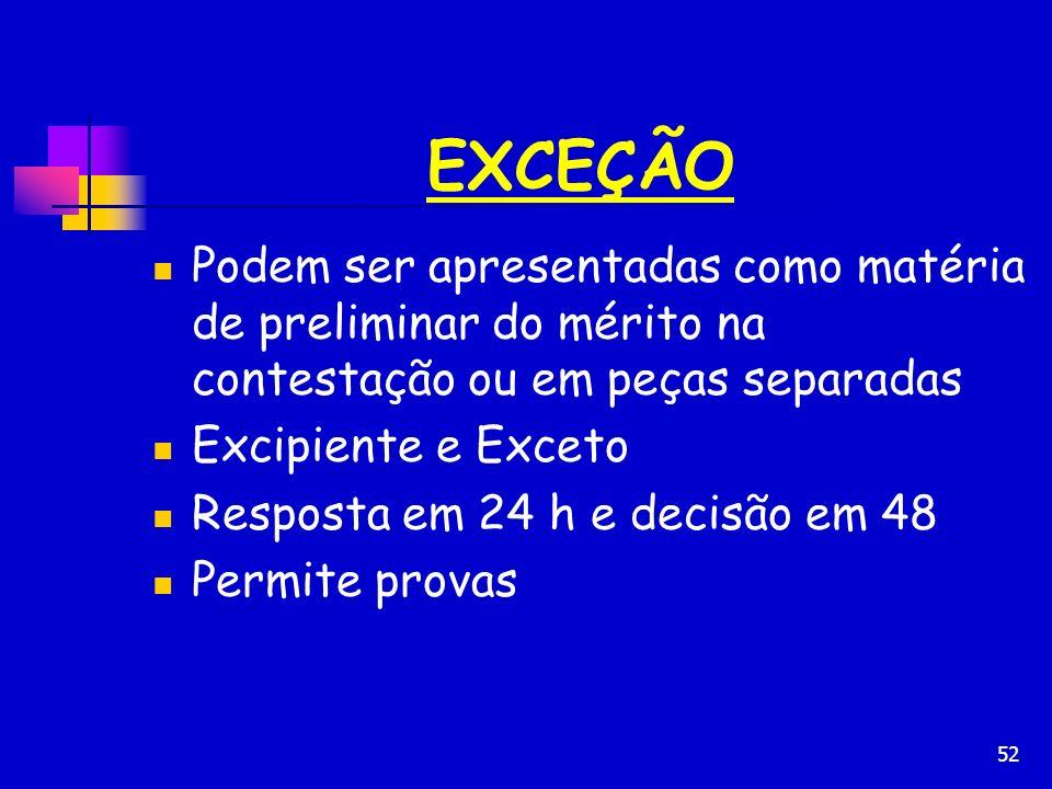 EXCEÇÃO Podem ser apresentadas como matéria de preliminar do mérito na contestação ou em peças separadas.