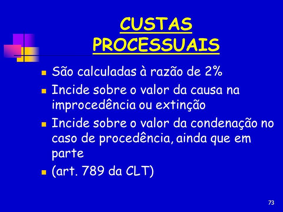 CUSTAS PROCESSUAIS São calculadas à razão de 2%