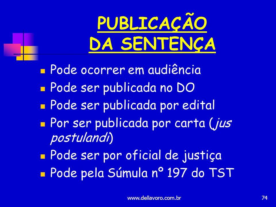 PUBLICAÇÃO DA SENTENÇA