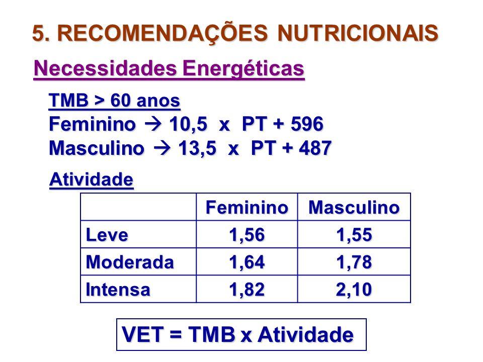 5. RECOMENDAÇÕES NUTRICIONAIS