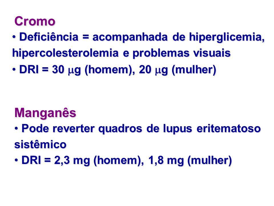 Cromo Deficiência = acompanhada de hiperglicemia, hipercolesterolemia e problemas visuais. DRI = 30 g (homem), 20 g (mulher)