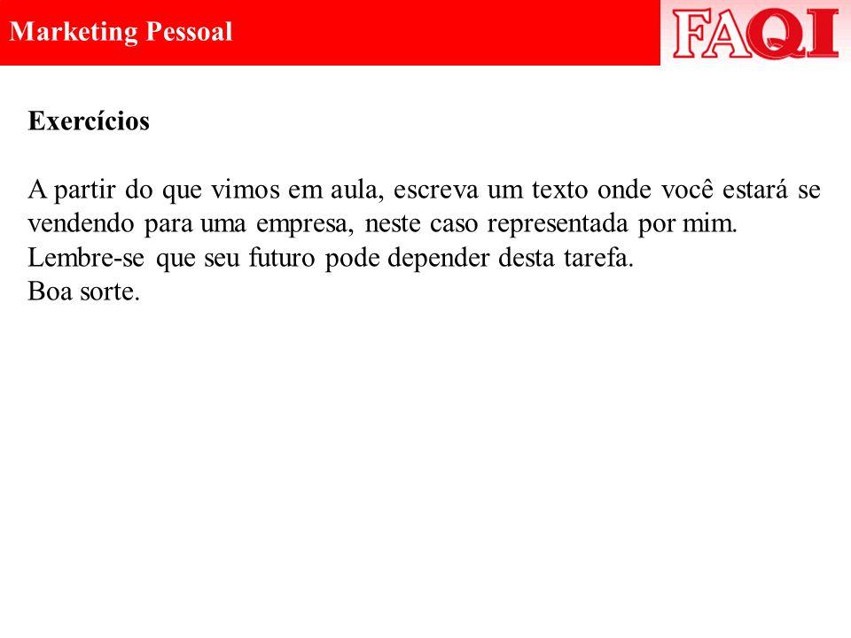 Marketing Pessoal Exercícios.