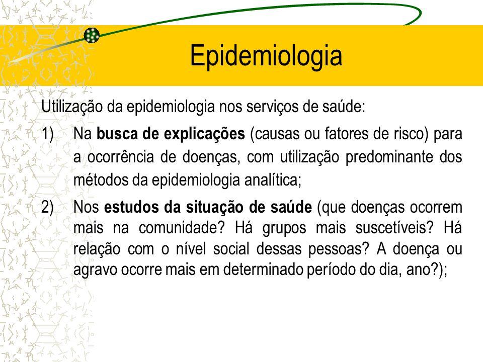 Epidemiologia Utilização da epidemiologia nos serviços de saúde: