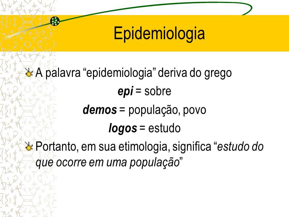 Epidemiologia A palavra epidemiologia deriva do grego epi = sobre
