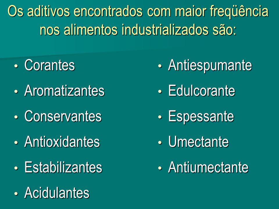 Os aditivos encontrados com maior freqüência nos alimentos industrializados são: