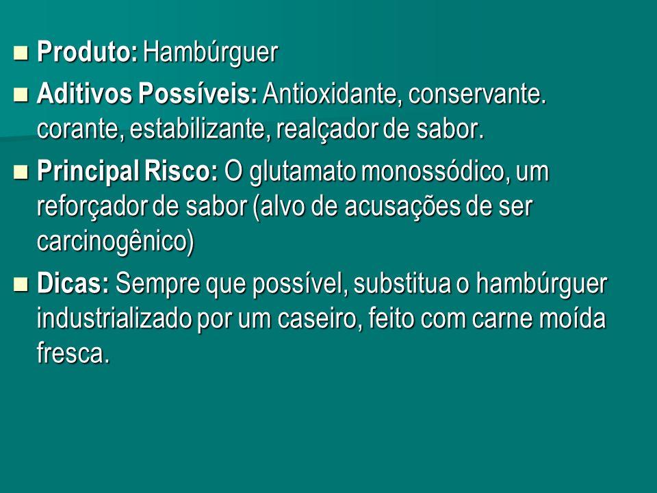 Produto: Hambúrguer Aditivos Possíveis: Antioxidante, conservante. corante, estabilizante, realçador de sabor.