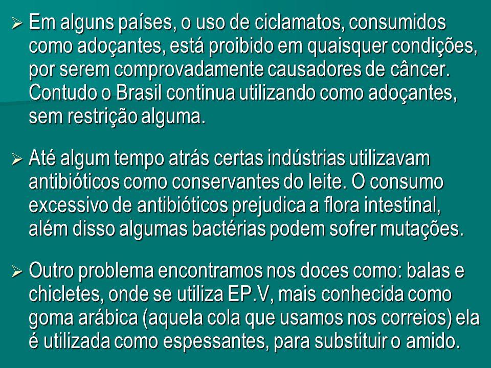 Em alguns países, o uso de ciclamatos, consumidos como adoçantes, está proibido em quaisquer condições, por serem comprovadamente causadores de câncer. Contudo o Brasil continua utilizando como adoçantes, sem restrição alguma.