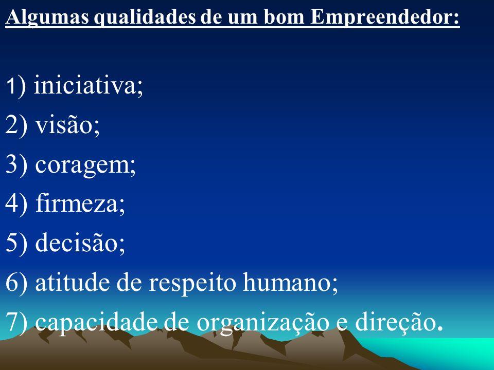 6) atitude de respeito humano; 7) capacidade de organização e direção.