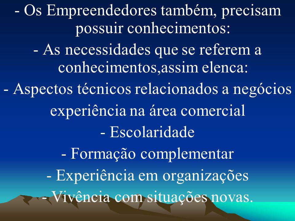 - Os Empreendedores também, precisam possuir conhecimentos: