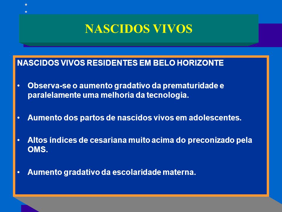 NASCIDOS VIVOS NASCIDOS VIVOS RESIDENTES EM BELO HORIZONTE