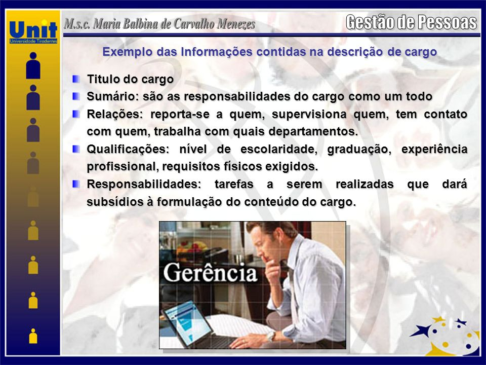 Exemplo das Informações contidas na descrição de cargo