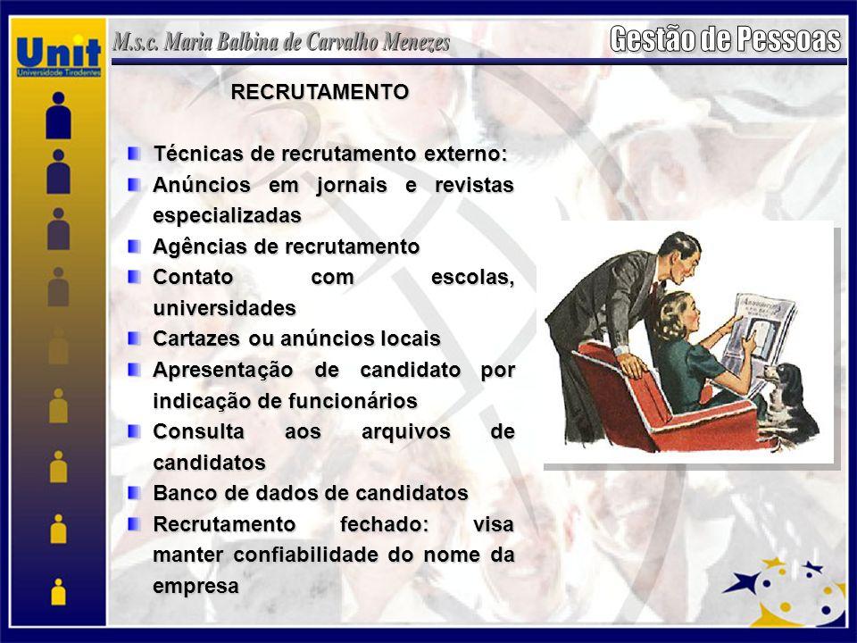 RECRUTAMENTO Técnicas de recrutamento externo: Anúncios em jornais e revistas especializadas. Agências de recrutamento.