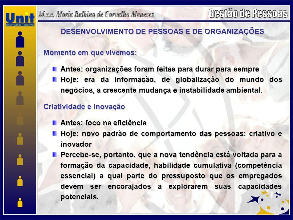 DESENVOLVIMENTO DE PESSOAS E DE ORGANIZAÇÕES