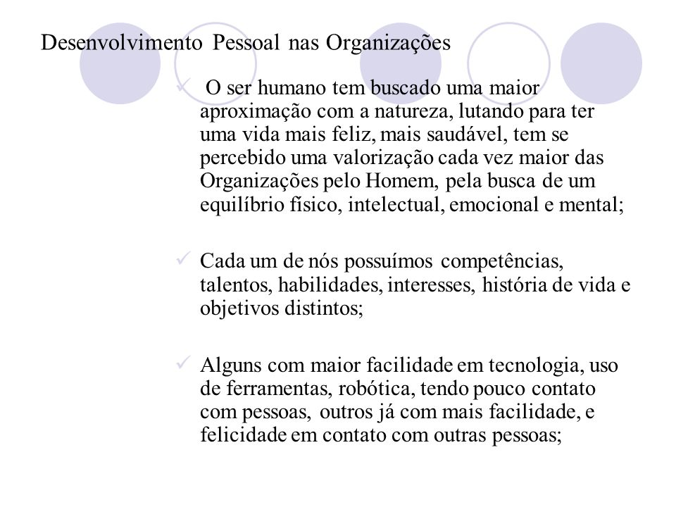 Desenvolvimento Pessoal nas Organizações