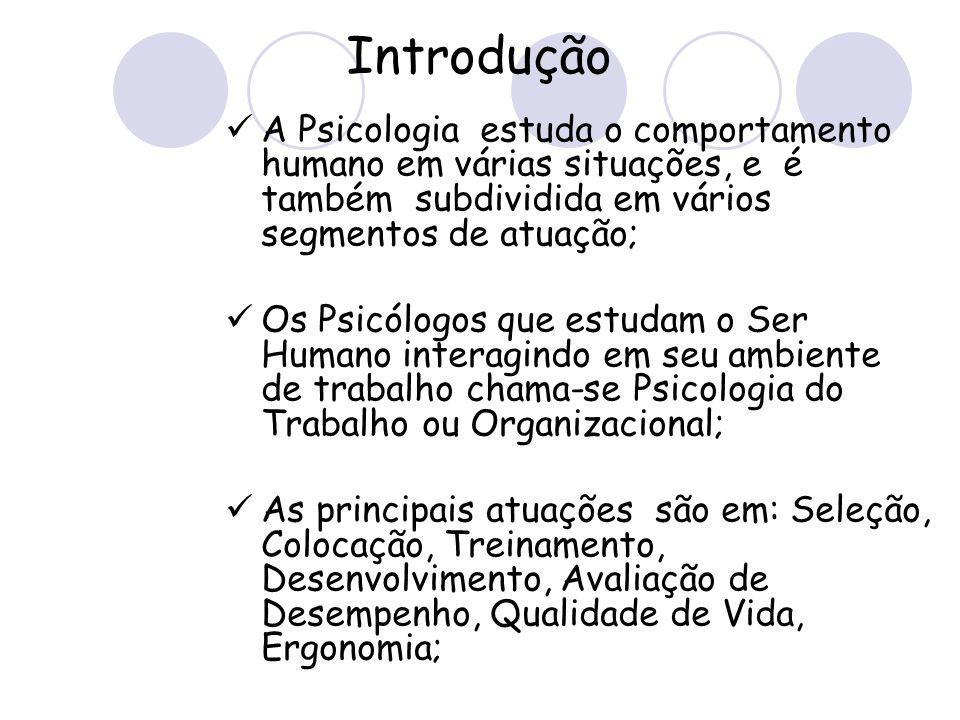 Introdução A Psicologia estuda o comportamento humano em várias situações, e é também subdividida em vários segmentos de atuação;