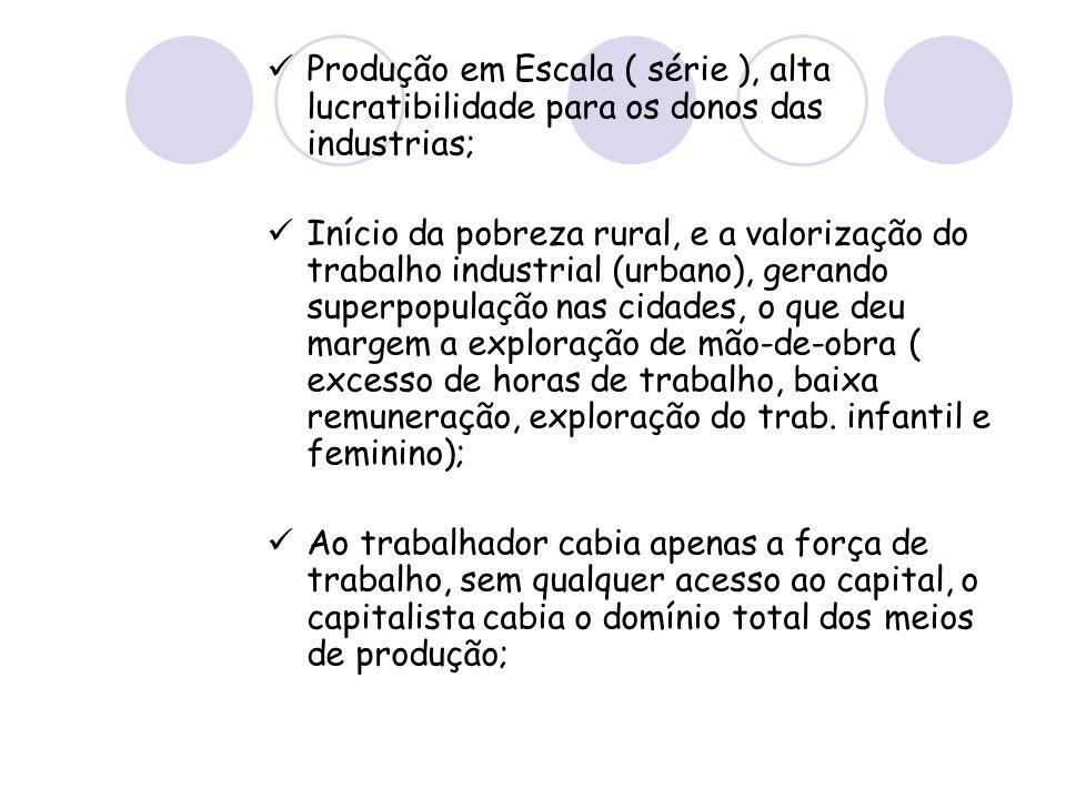 Produção em Escala ( série ), alta lucratibilidade para os donos das industrias;