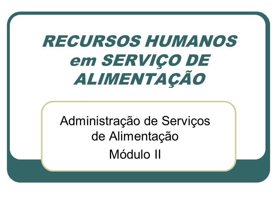 RECURSOS HUMANOS em SERVIÇO DE ALIMENTAÇÃO