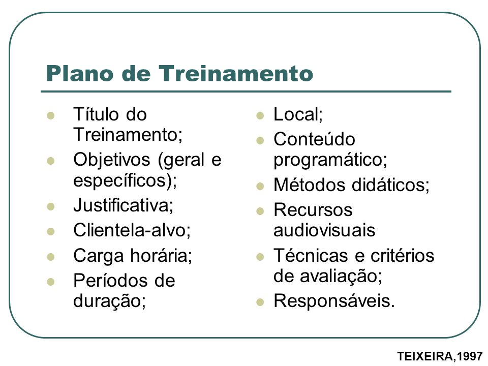 Plano de Treinamento Título do Treinamento;