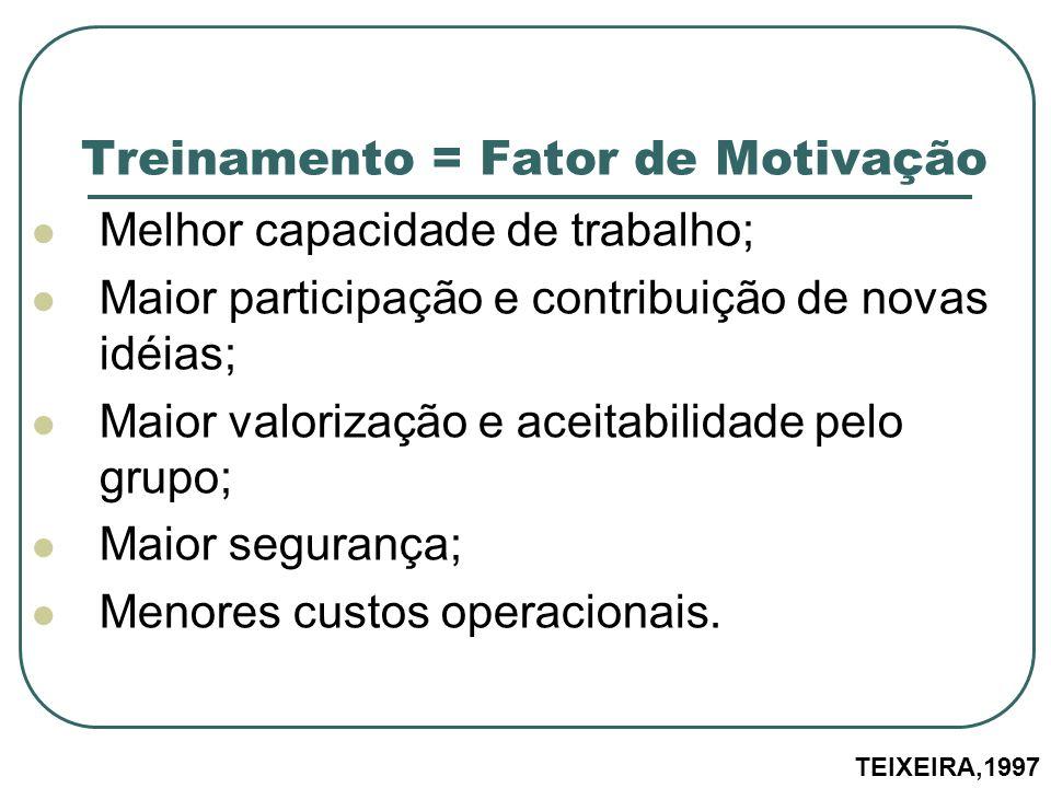 Treinamento = Fator de Motivação