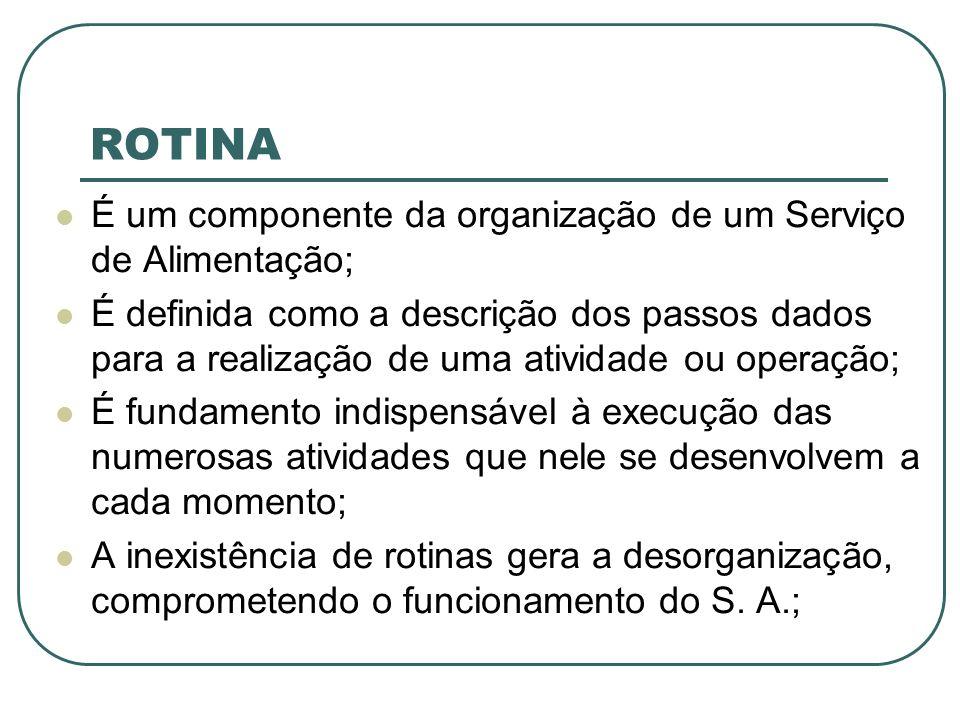 ROTINA É um componente da organização de um Serviço de Alimentação;
