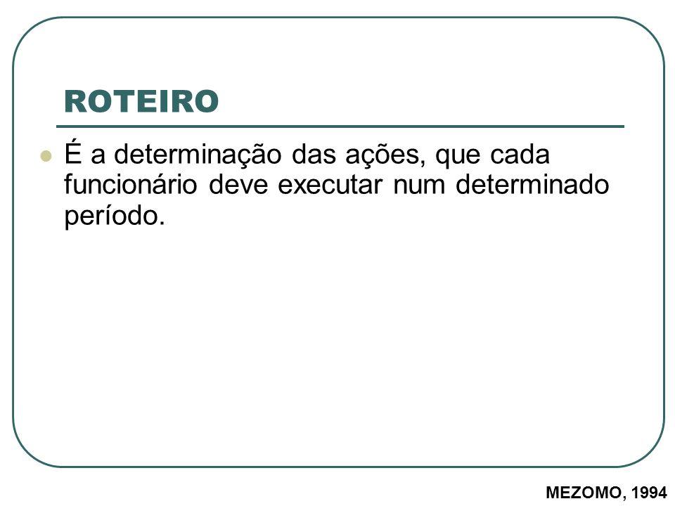 ROTEIRO É a determinação das ações, que cada funcionário deve executar num determinado período.