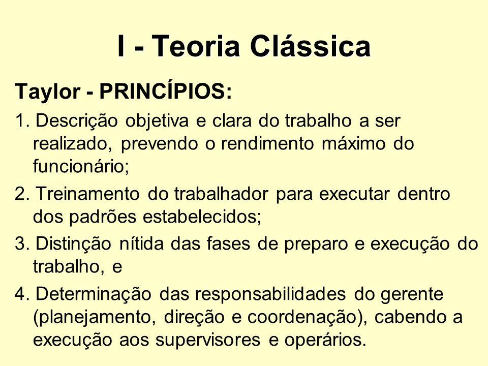 I - Teoria Clássica Taylor - PRINCÍPIOS: