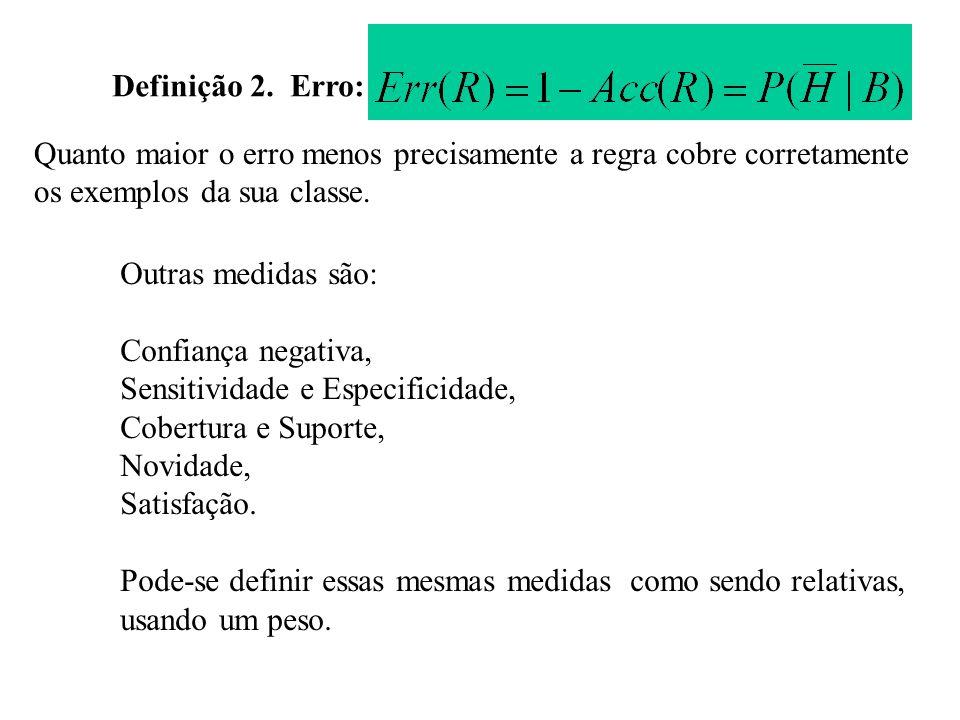 Definição 2. Erro: Quanto maior o erro menos precisamente a regra cobre corretamente. os exemplos da sua classe.
