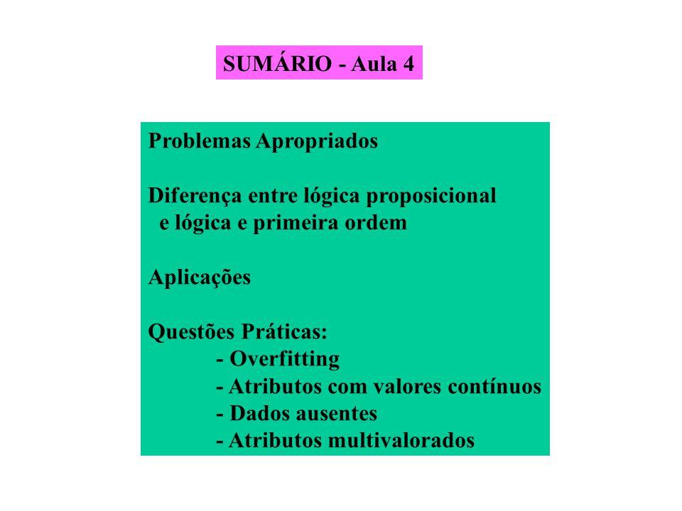 SUMÁRIO - Aula 4 Problemas Apropriados. Diferença entre lógica proposicional. e lógica e primeira ordem.