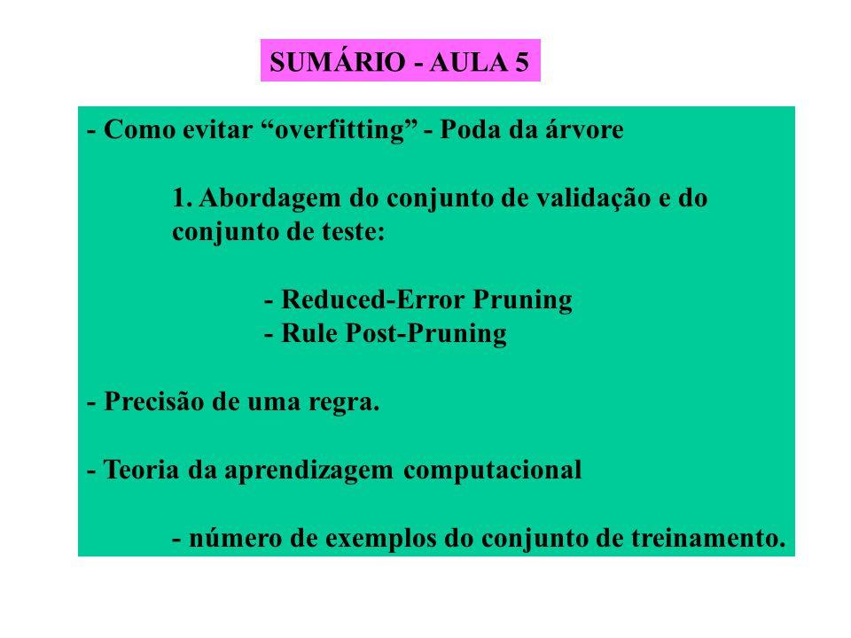 SUMÁRIO - AULA 5 - Como evitar overfitting - Poda da árvore. 1. Abordagem do conjunto de validação e do.