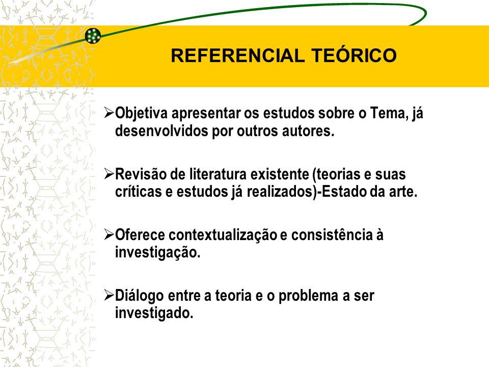 REFERENCIAL TEÓRICO Objetiva apresentar os estudos sobre o Tema, já desenvolvidos por outros autores.