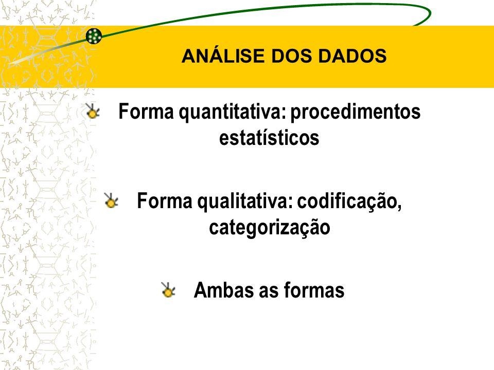 Forma quantitativa: procedimentos estatísticos