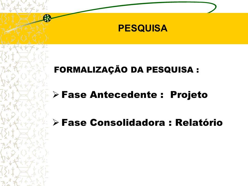 Fase Antecedente : Projeto Fase Consolidadora : Relatório