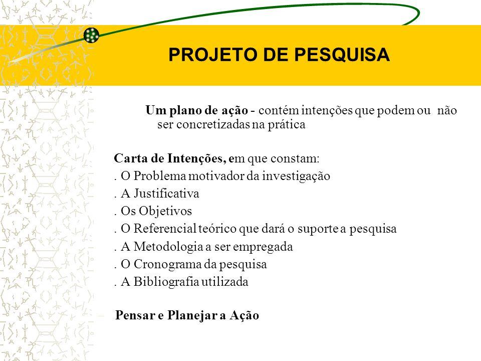 PROJETO DE PESQUISA Um plano de ação - contém intenções que podem ou não ser concretizadas na prática.