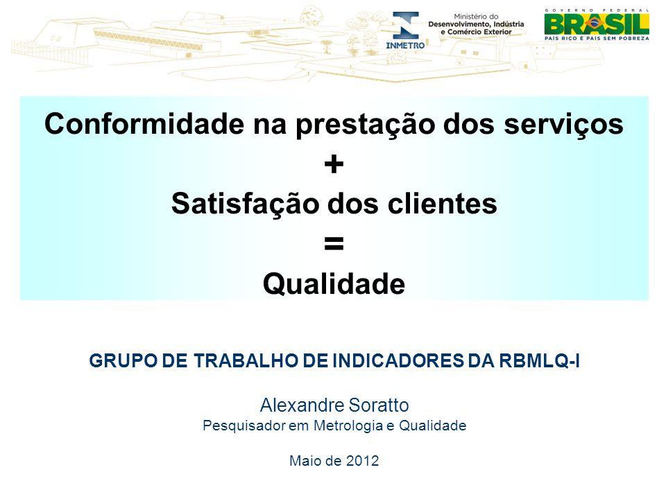 + = Conformidade na prestação dos serviços Satisfação dos clientes