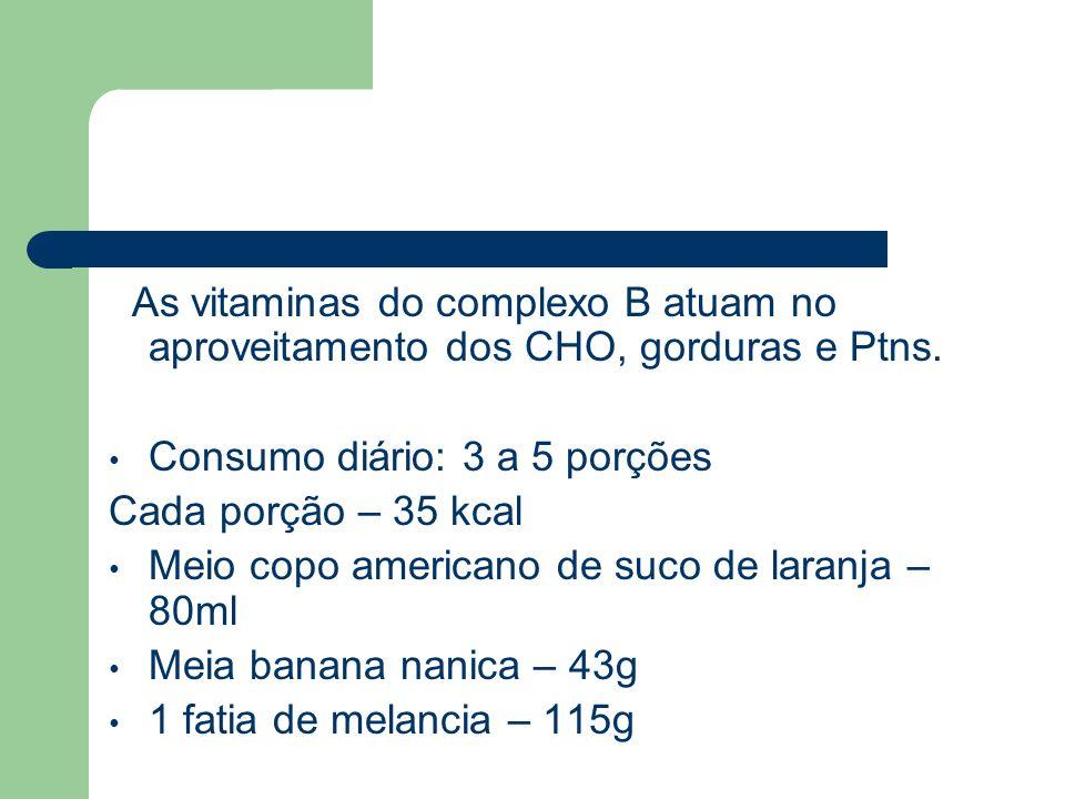 As vitaminas do complexo B atuam no aproveitamento dos CHO, gorduras e Ptns.