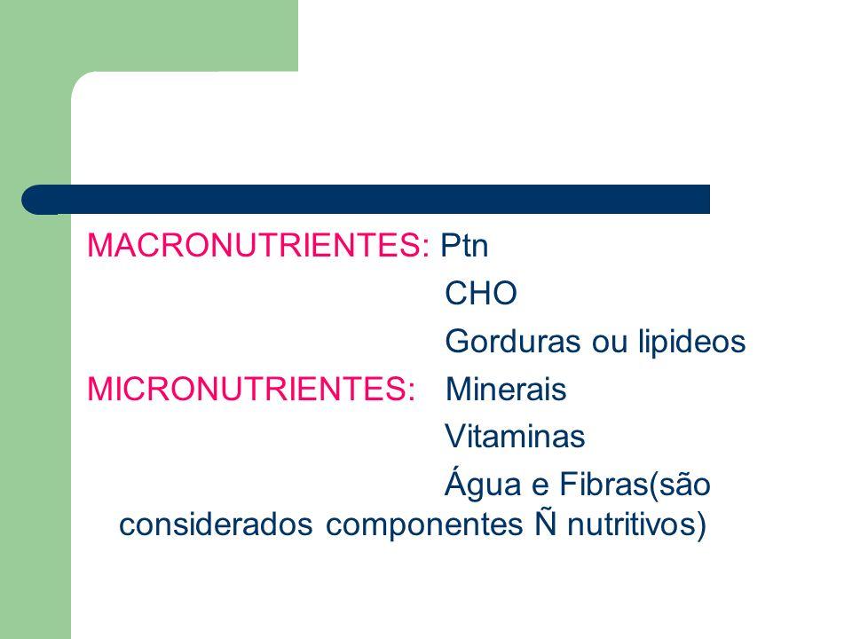 MACRONUTRIENTES: Ptn CHO. Gorduras ou lipideos. MICRONUTRIENTES: Minerais.