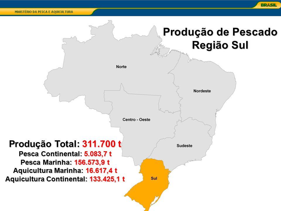 Aquicultura Marinha: 16.617,4 t Aquicultura Continental: 133.425,1 t