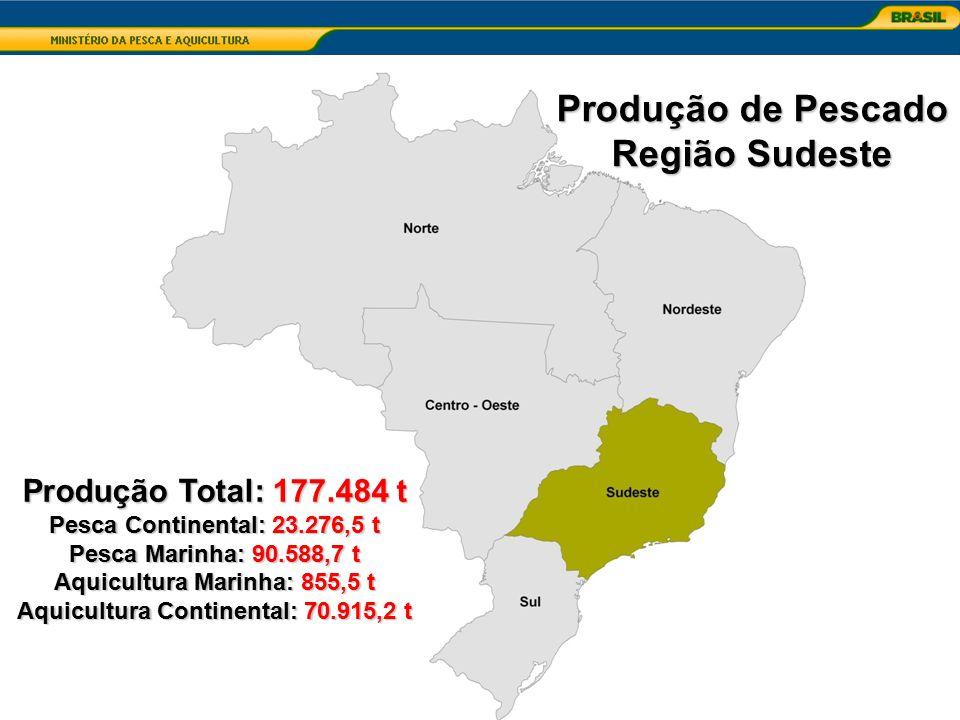 Aquicultura Marinha: 855,5 t Aquicultura Continental: 70.915,2 t