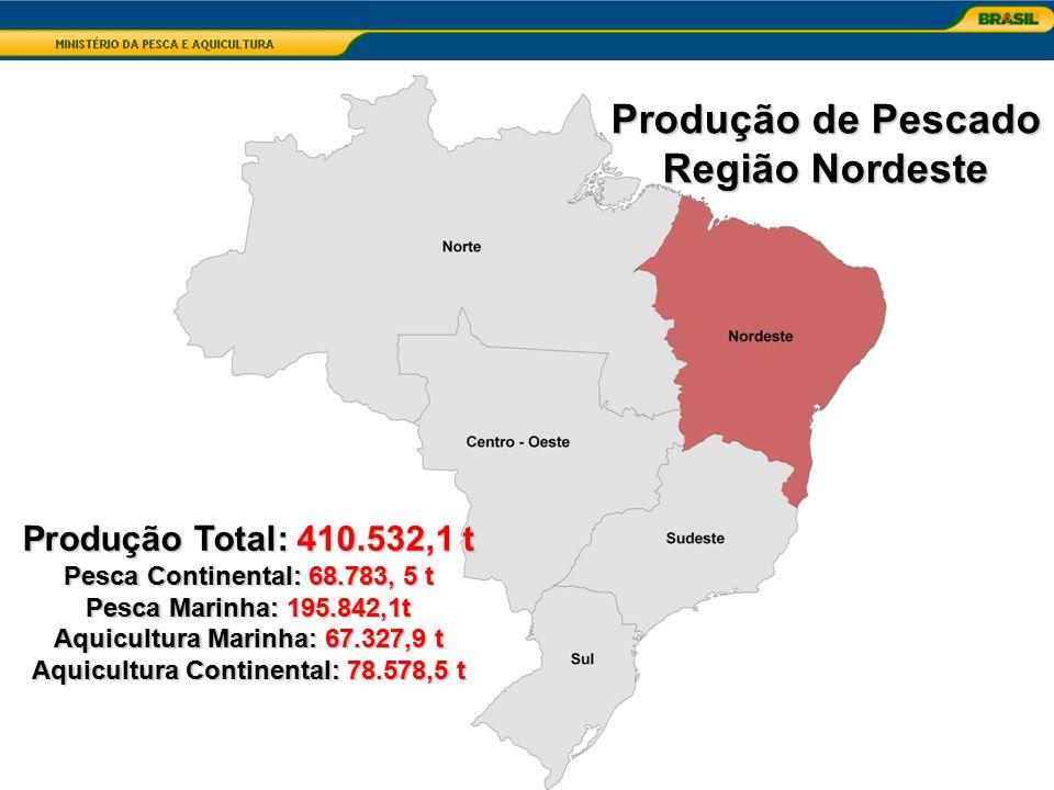 Aquicultura Marinha: 67.327,9 t Aquicultura Continental: 78.578,5 t