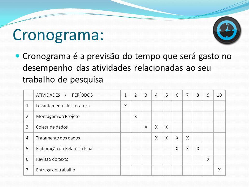 Cronograma:Cronograma é a previsão do tempo que será gasto no desempenho das atividades relacionadas ao seu trabalho de pesquisa.
