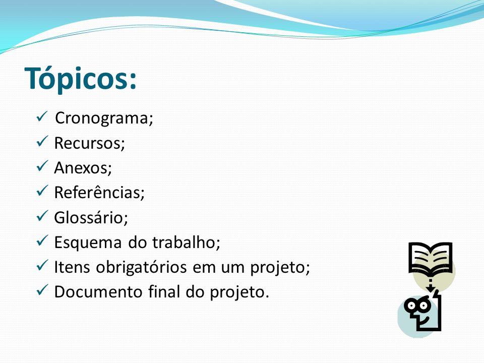 Tópicos: Recursos; Anexos; Referências; Glossário;