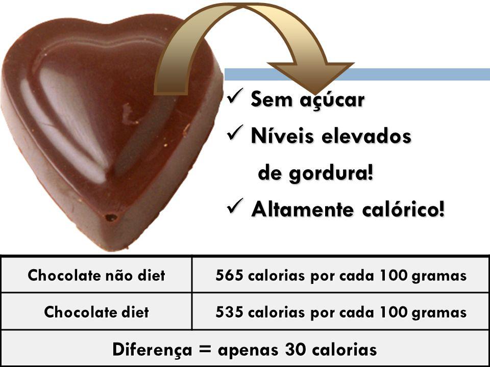 Sem açúcar Níveis elevados de gordura! Altamente calórico!