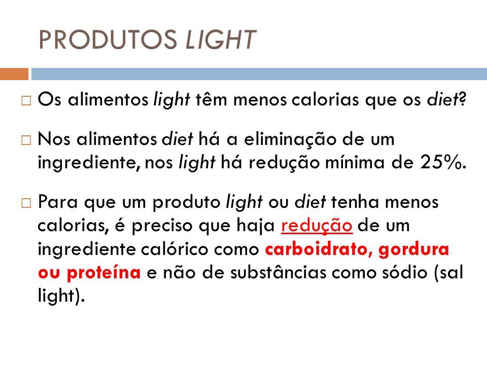 PRODUTOS LIGHT Os alimentos light têm menos calorias que os diet