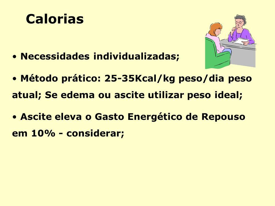 Calorias Necessidades individualizadas;