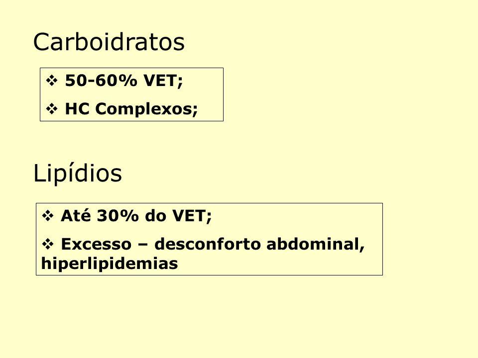 Carboidratos Lipídios 50-60% VET; HC Complexos; Até 30% do VET;