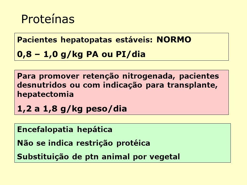Proteínas 0,8 – 1,0 g/kg PA ou PI/dia 1,2 a 1,8 g/kg peso/dia