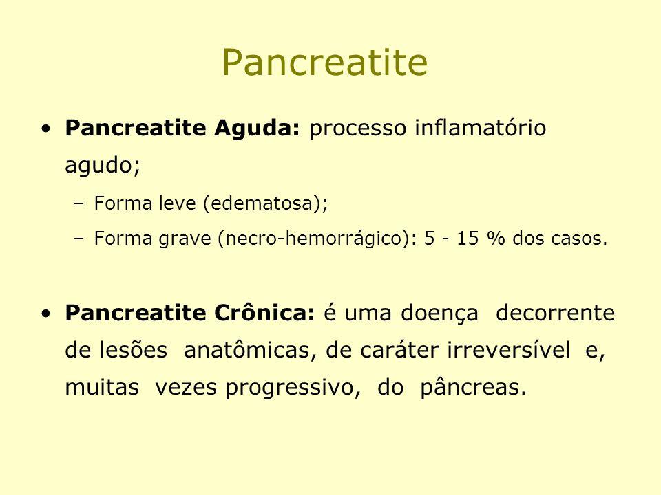 Pancreatite Pancreatite Aguda: processo inflamatório agudo;