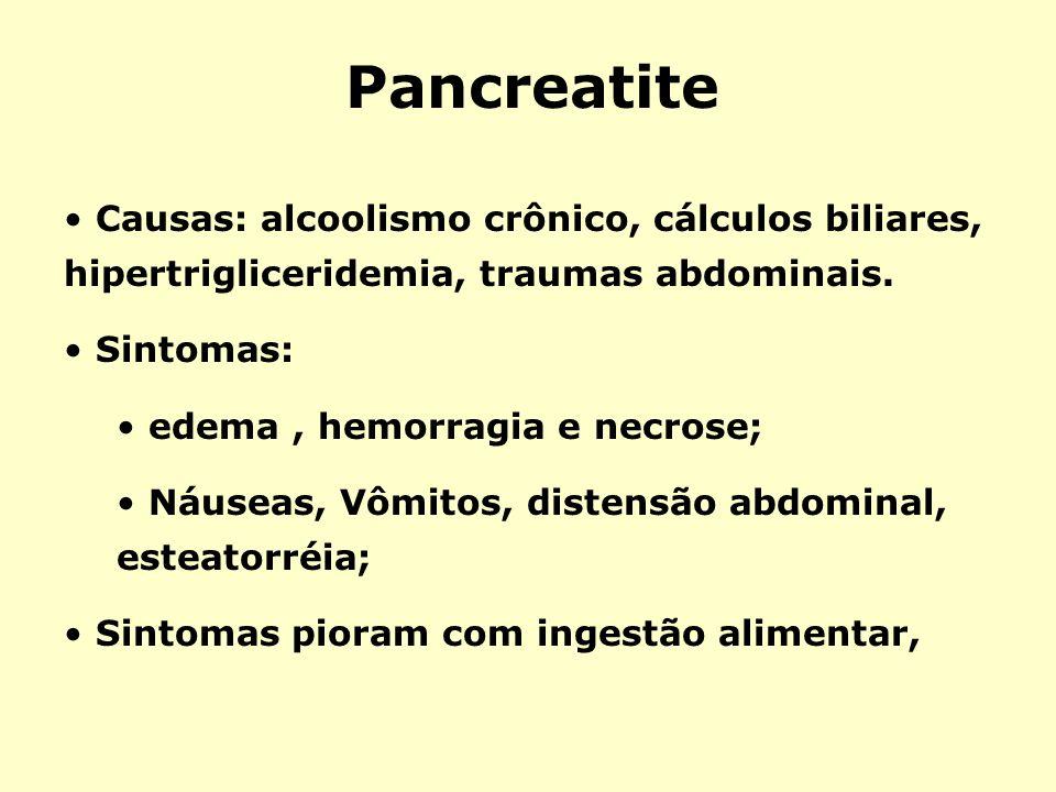 PancreatiteCausas: alcoolismo crônico, cálculos biliares, hipertrigliceridemia, traumas abdominais.